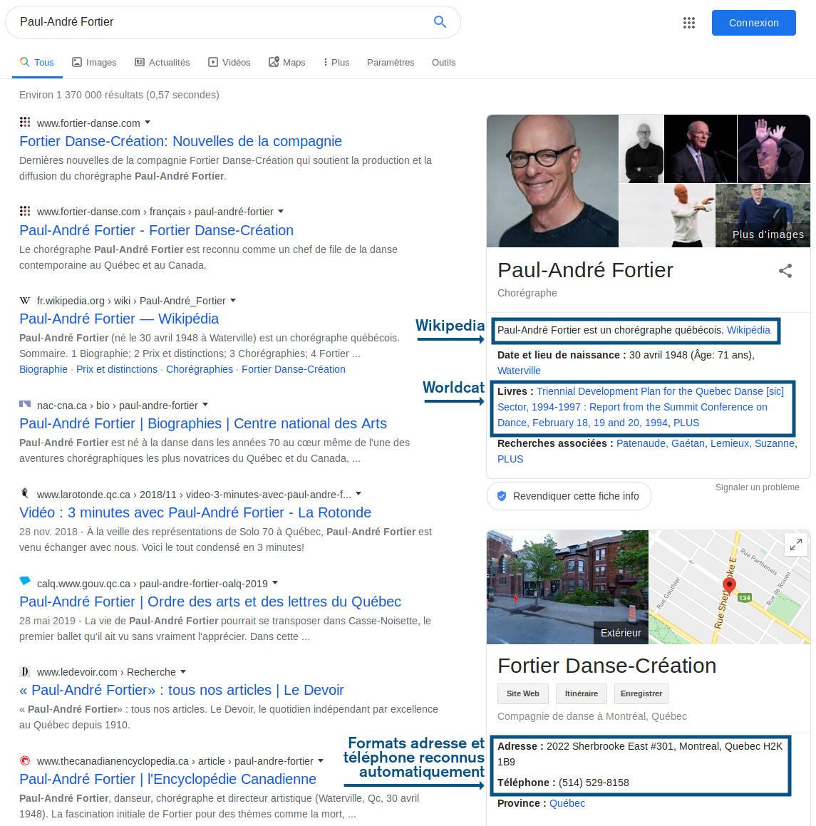 Exemple d'utilisation des métadonnées par Google