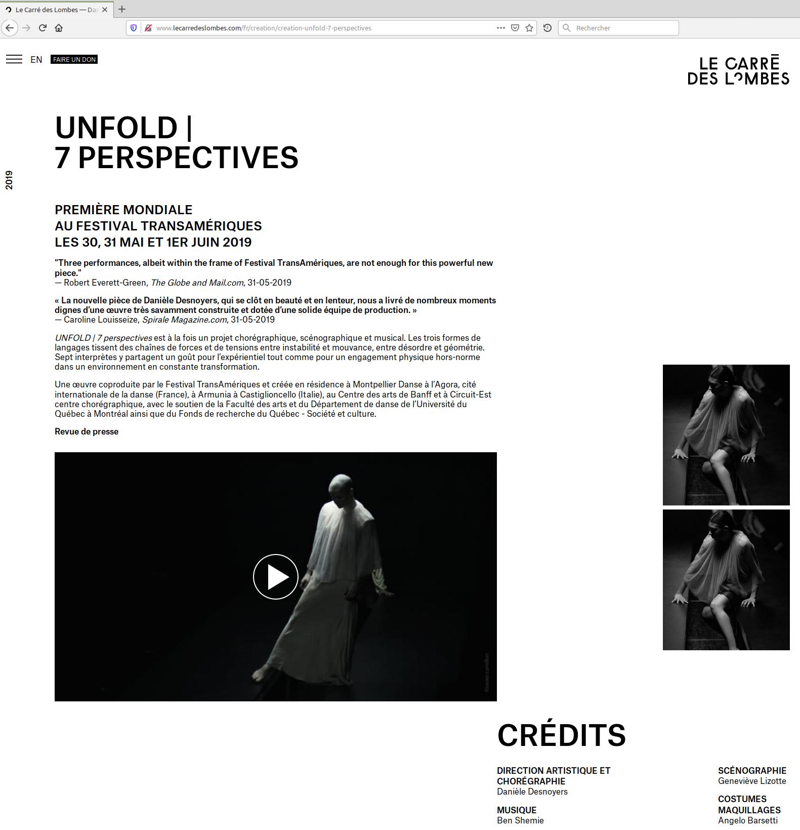 Page web de la création UNFOLD | 7 perspectives.