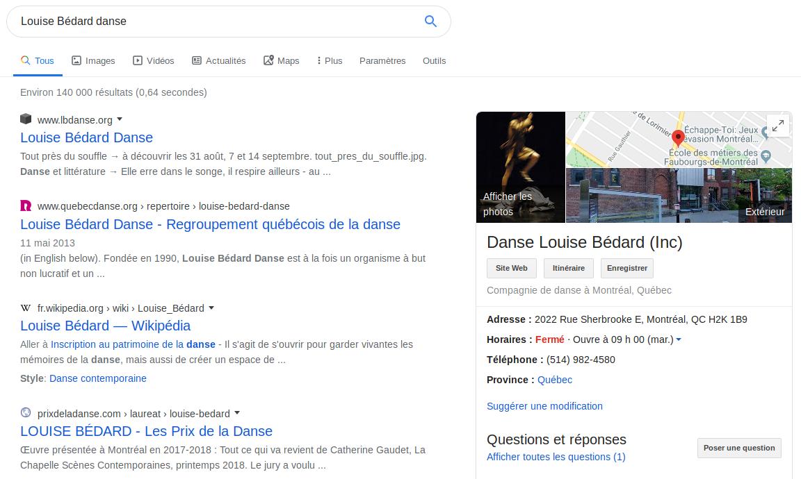 Recherche Google: «Louise Bédard Danse».
